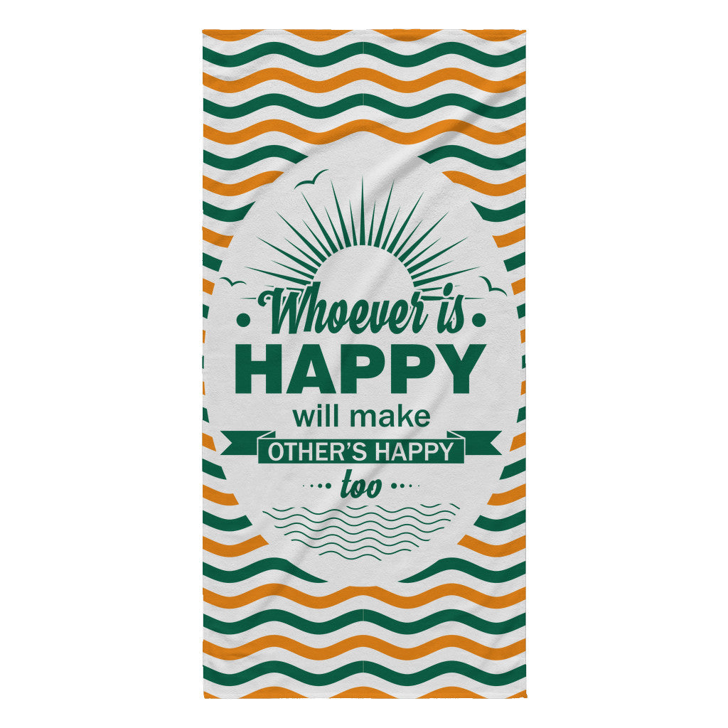 Beach Towel - 'Whoever Is Happy, Will Make Others Happy Too' Beautiful Smile Quotes Yellow Beach Towel