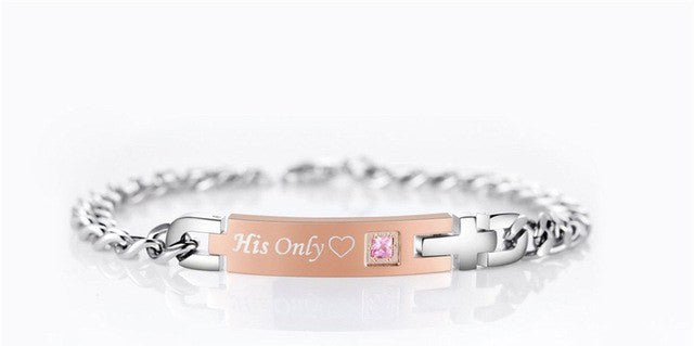 Bracelet - 'His Only' And 'Her One' Couple Chain Bracelet