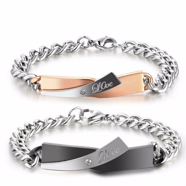 Bracelet - 'Love' Chain Couple Bracelets