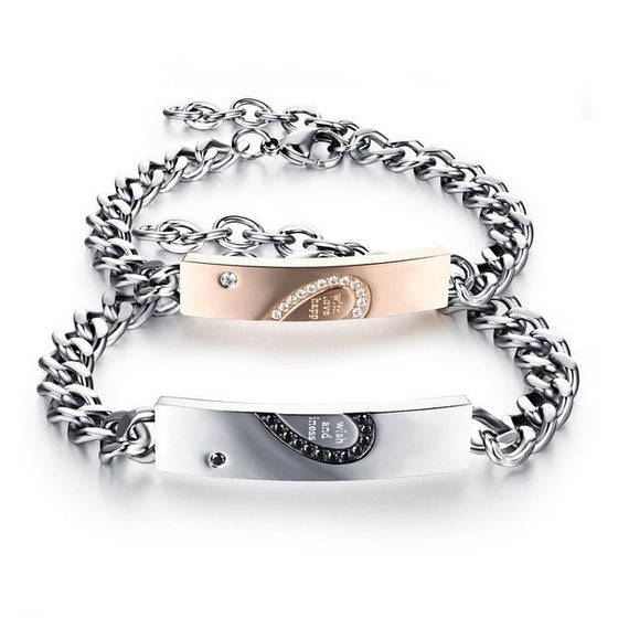 Bracelet - 'With Wish, Love, And Happiness' Couple Chain Bracelets