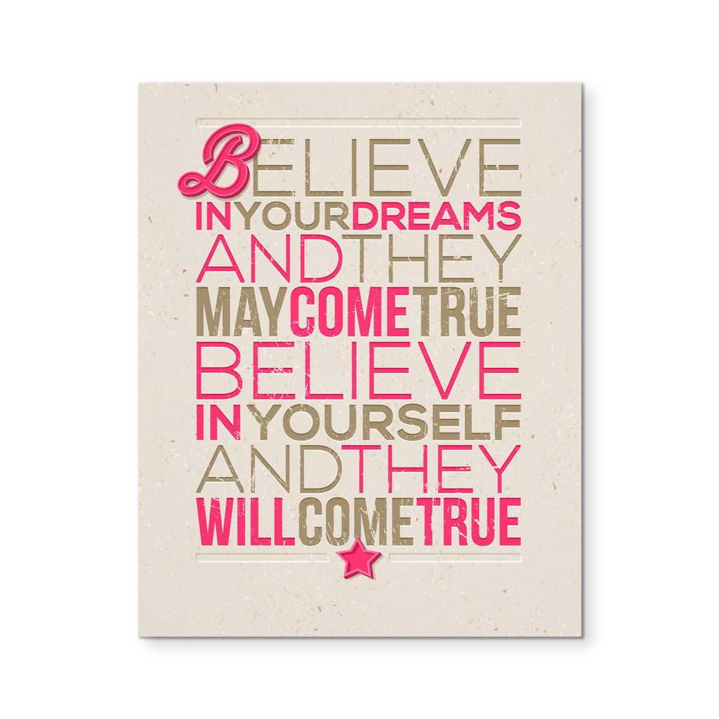 "Canvas Wall Art - 'Believe In Yourself And They Come True' Motivational Quote 8x10"" Canvas"