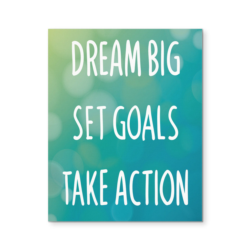 "Canvas Wall Art - 'Dream Big, Set Goals, Take Action' Motivational Quote 8x10"" Canvas"