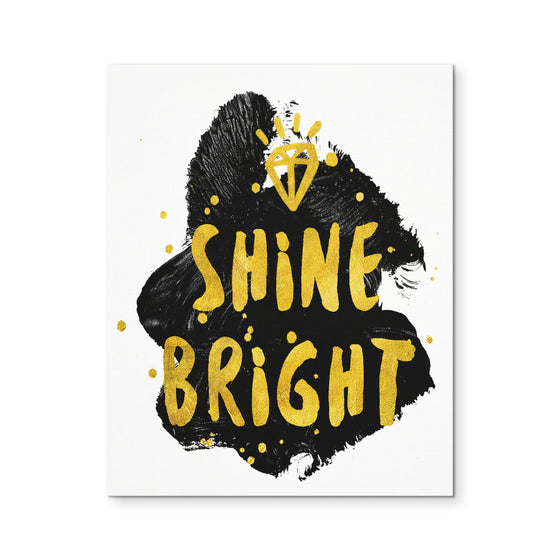 Canvas Wall Art - 'Shine Bright' Motivational Quote 8x10 Canvas