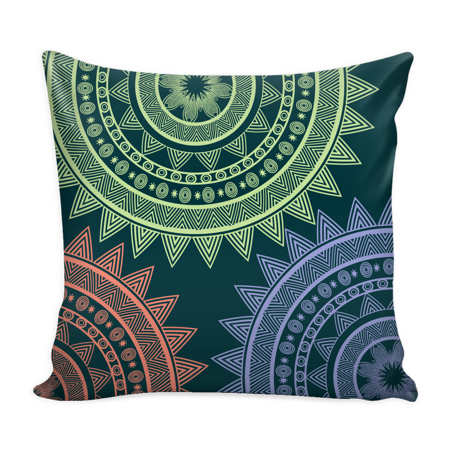 'Peace' Buddhist Mandala Green Pillow