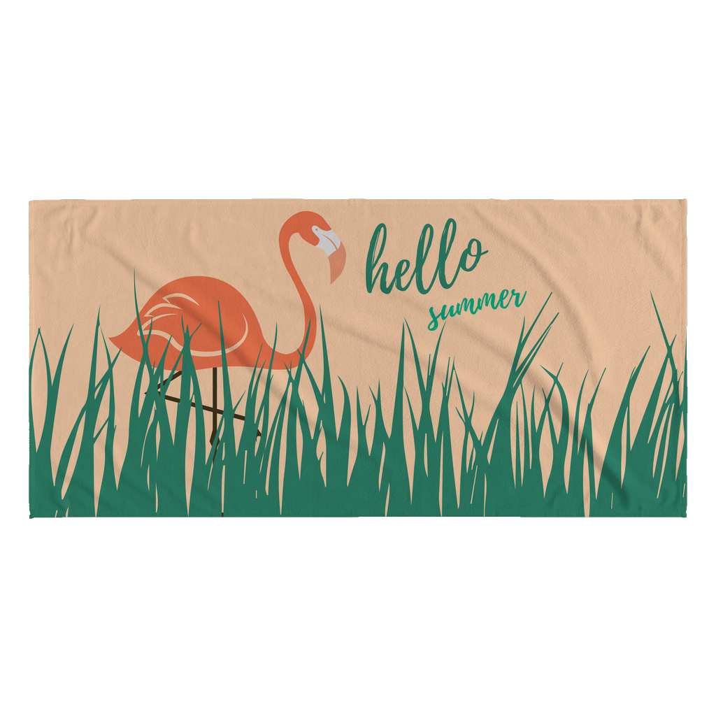 Hello Summer Flamingo Summer Quotes Beach Towel Good Morning Quote