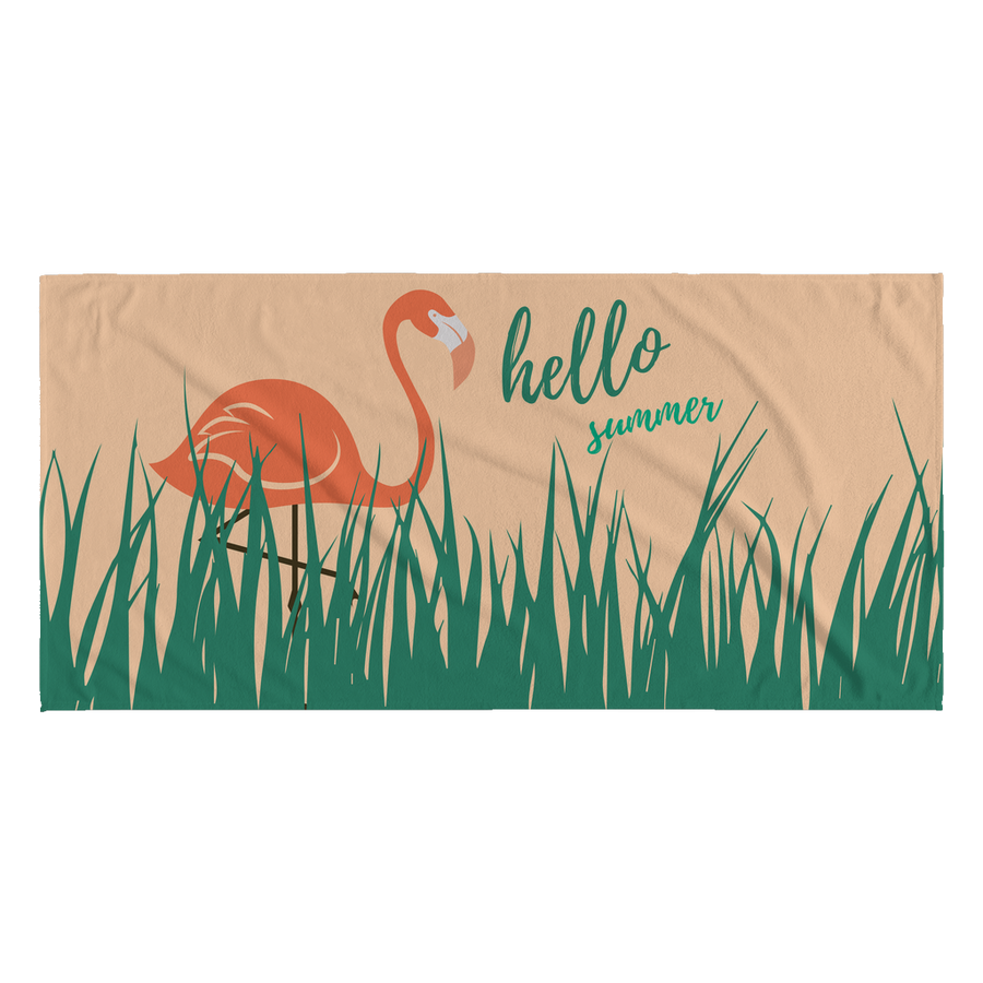 'Hello Summer Flamingo' Summer Quotes Beach Towel