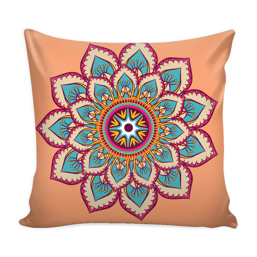 'Sacred Lotus' Buddhist Mandala Peach Pillow