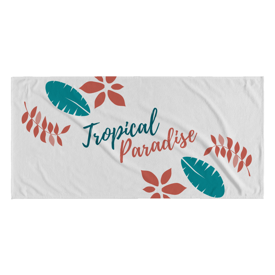 'Tropical Paradise' Summer Quotes Beach Towel