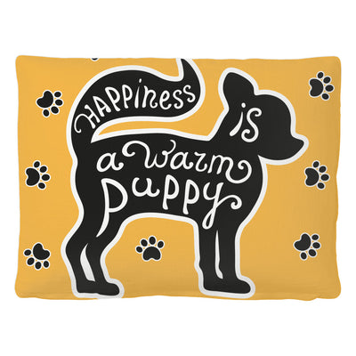 Pet Bed - 'Happiness Is A Warm Puppy' Dog Quotes Pet Bed