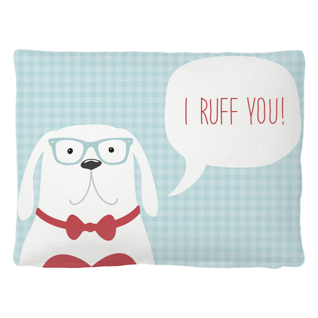 Pet Bed - 'I Ruff You' Quote Pet Bed
