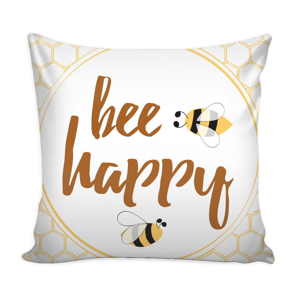 Pillows - 'Bee Happy' Motivational White Pillow Cover