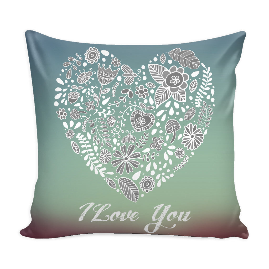 I Love You Love Quotes for Him Purple Pillow Cover