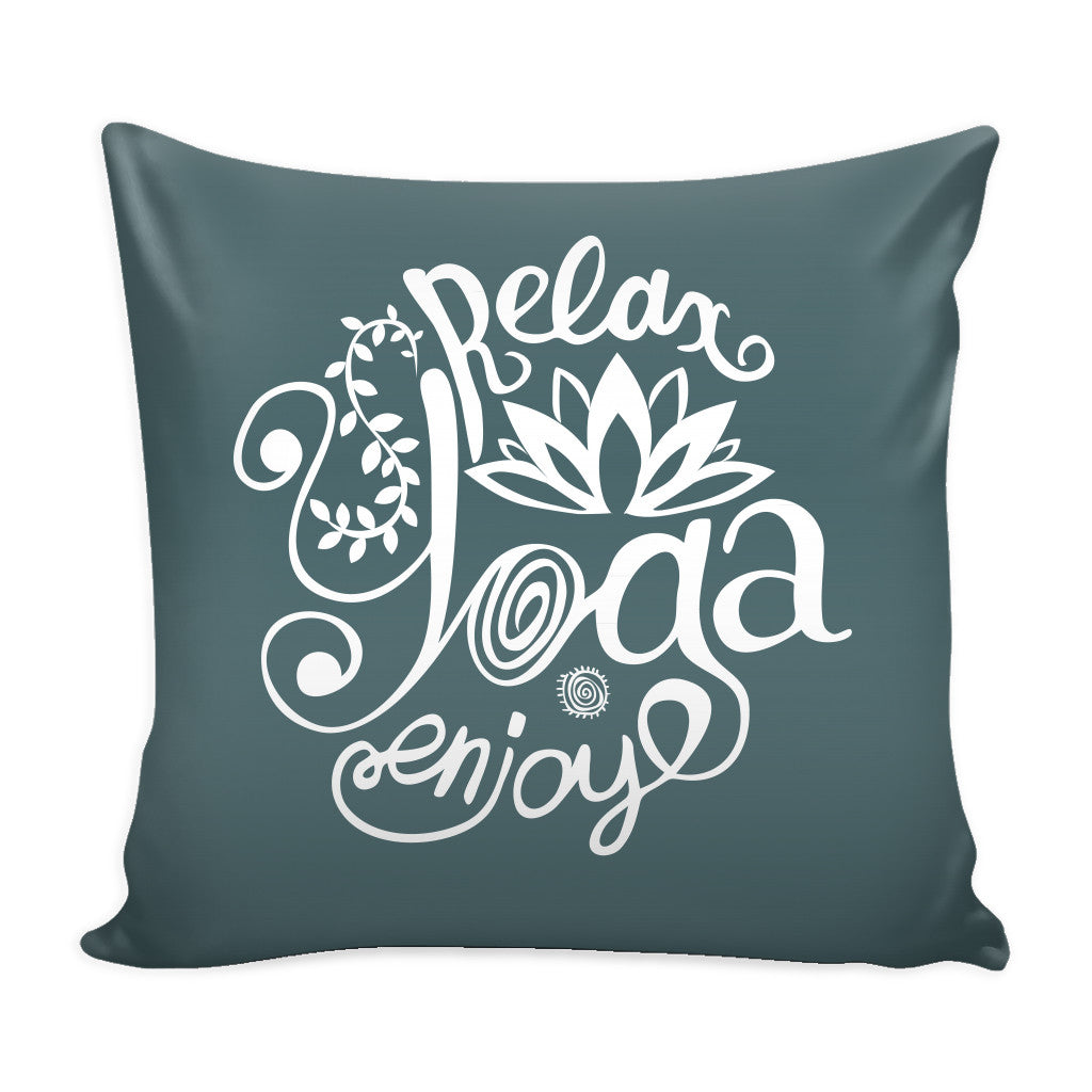 Pillows - 'Relay, Yoga, Enjoy' Quotes Gray Pillow Cover
