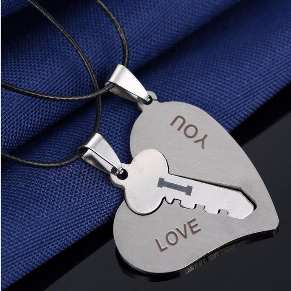 Heart and Key Puzzle Couple Necklaces