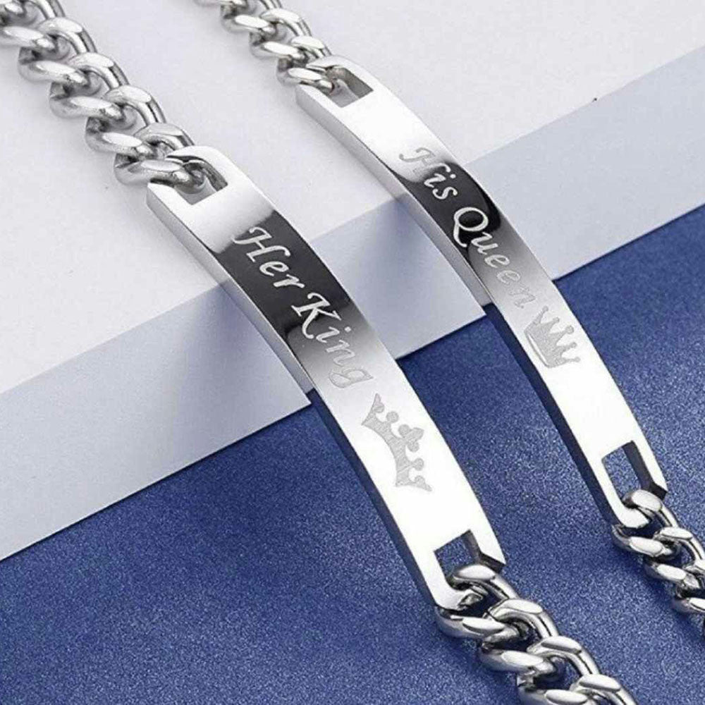 'His Queen' and 'Her King' Silver Couple Chain Bracelets