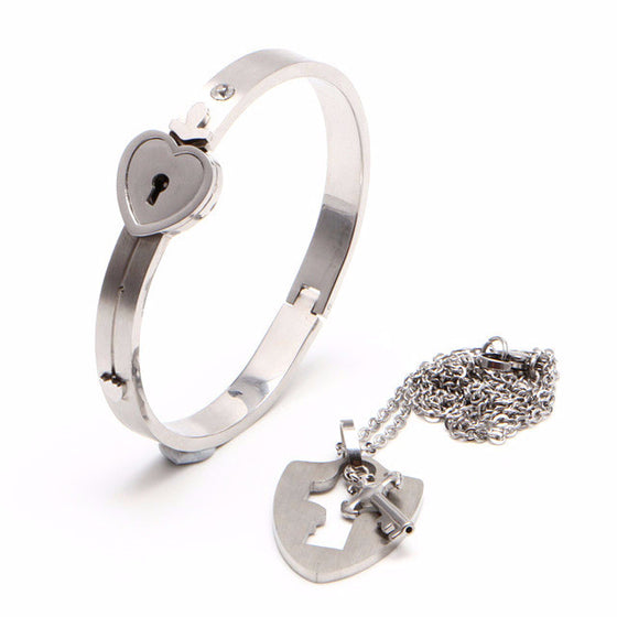 Love Lock Couple Bangle & Necklace Set