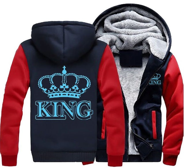 Glowing Blue King Queen Winter Fleece Couple Hoodie Jacket [4 Colors]