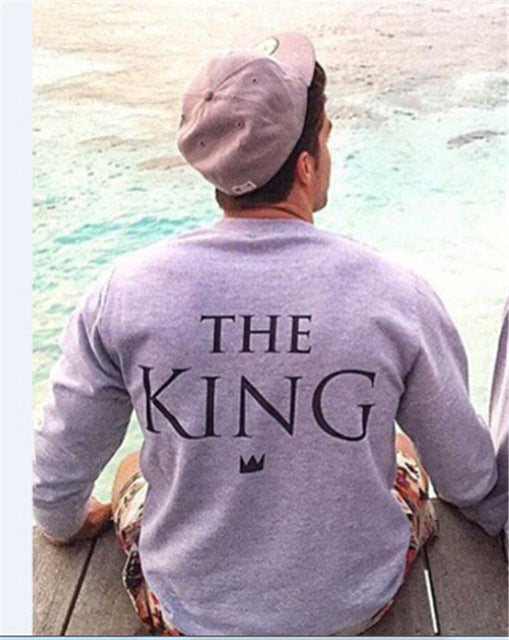 """The King"" and ""His Queen"" Gray Couple Sweatshirt"