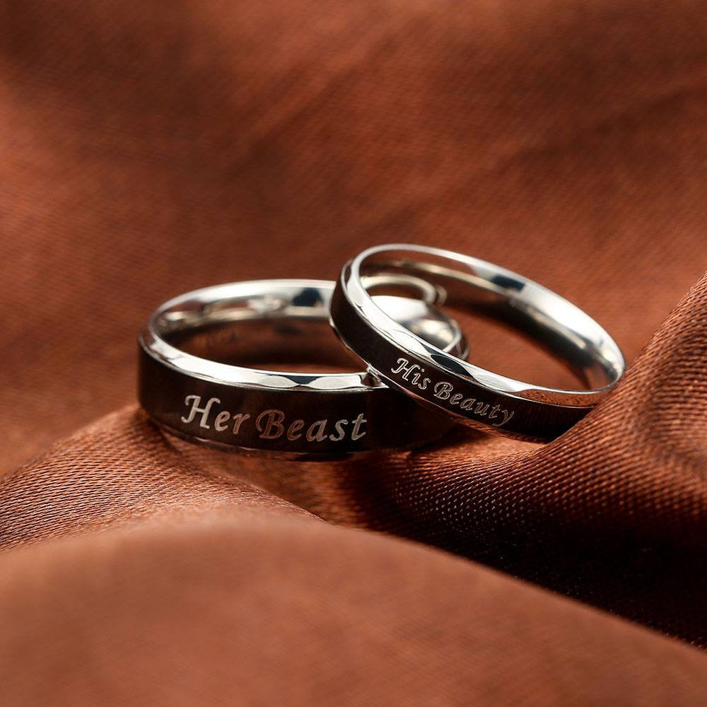 Her Beast\' and \'His Beauty\' Couple Ring - Good Morning Quote