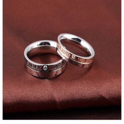 Ring - 'Love Is Never Tired Of Waiting' Couple Rings