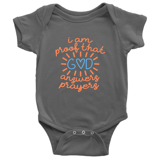 'I Am Proof That God Answers Prayers' Baby Boy Bodysuits Onesies [4 Variants]