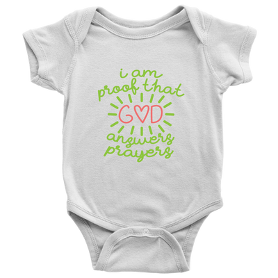 'I Am Proof That God Answers Prayers' Baby Girl Bodysuit Onesies [4 Variants]