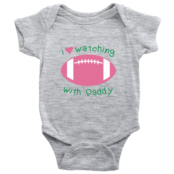 'I Love Watching Football with Daddy' Baby Girl Bodysuit Onesies [4 Variants]