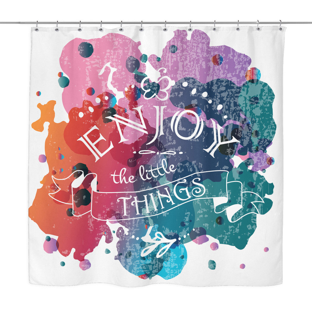 Shower Curtains - 'Enjoy The Little Things' Motivational Quotes Colorful Shower Curtain