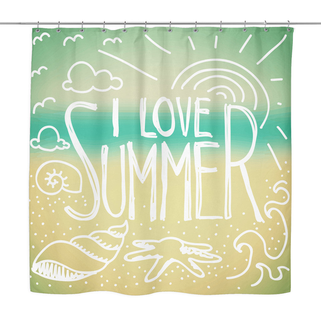 Shower Curtains - 'I Love Summer' Summer Quotes Turquoise Shower Curtain