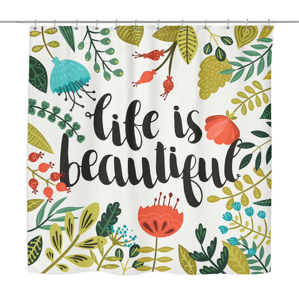 Shower Curtains - 'Life Is Beautiful' Motivational Quotes Red Shower Curtain
