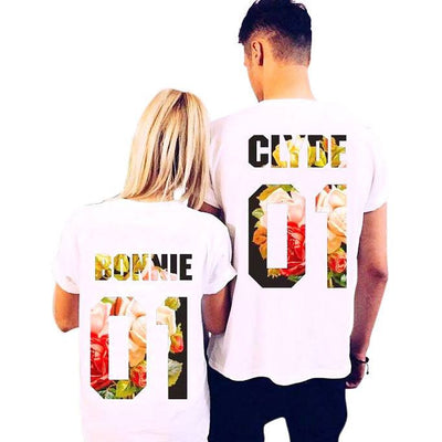 b7e3d2ff67 Bonnie and Clyde Floral Printed Couple T-Shirt - Good Morning Quote