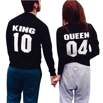 T-shirt - King And Queen Long Sleeve Couple Black Sweatshirt