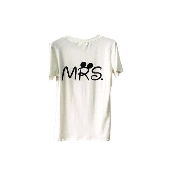 Mr. and Mrs. Disney Inspired Letter Printed Couple T-Shirt