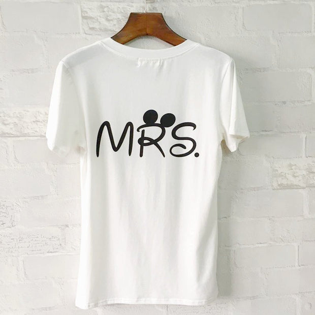 T-shirt - Mr. And Mrs. Disney Inspired Letter Printed Couple T-Shirt