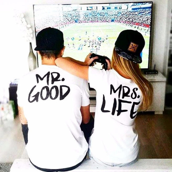 "T-shirt - ""Mr. Good"" And ""Mrs. Life"" Funny Couple T-shirt"