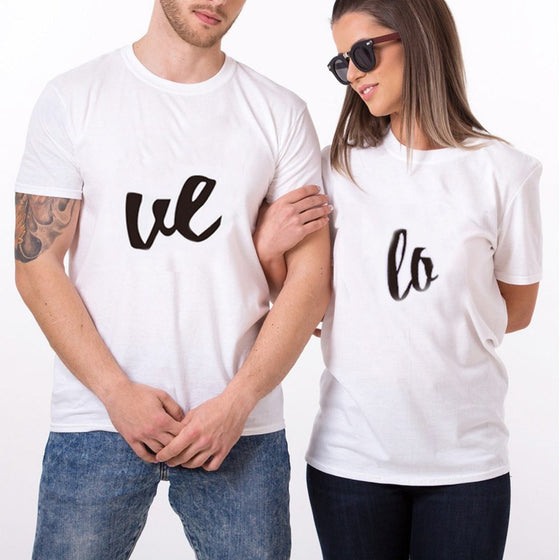 T-shirt - Simple Print LO-VE Couple White T-shirts