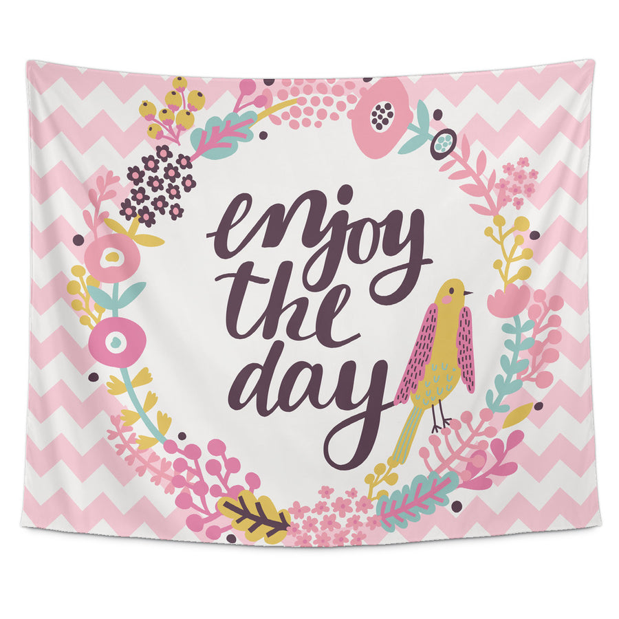 'Enjoy the Day' Motivational Quotes Tapestry