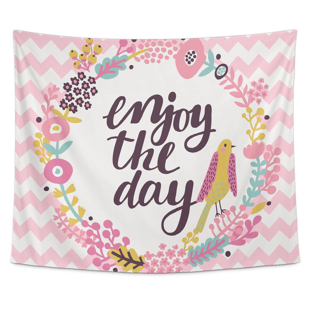 Motivational Quotes Of The Day Enjoy The Day' Motivational Quotes Tapestry  Good Morning Quote