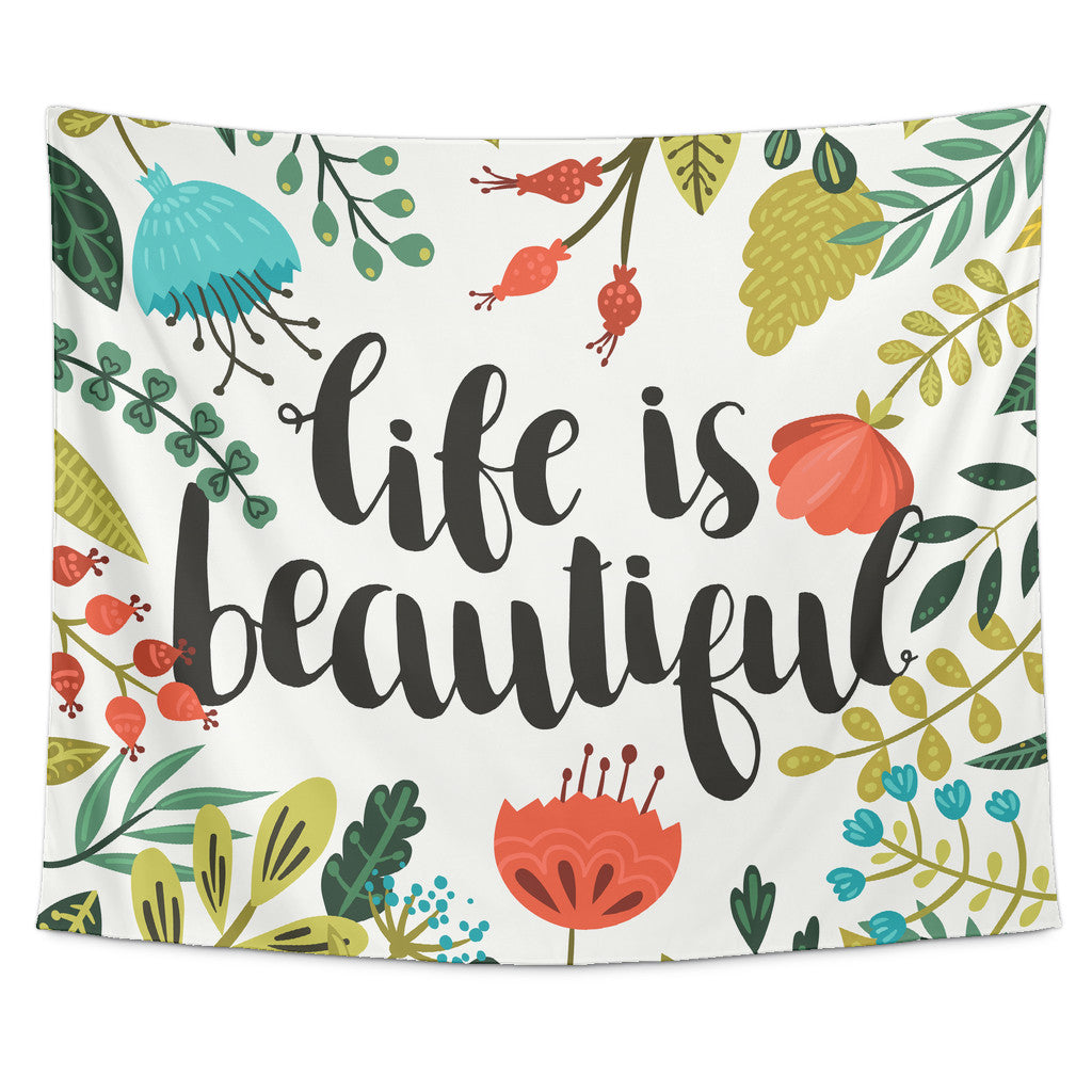 Tapestries - 'Life Is Beautiful' Motivational Quotes Tapestry