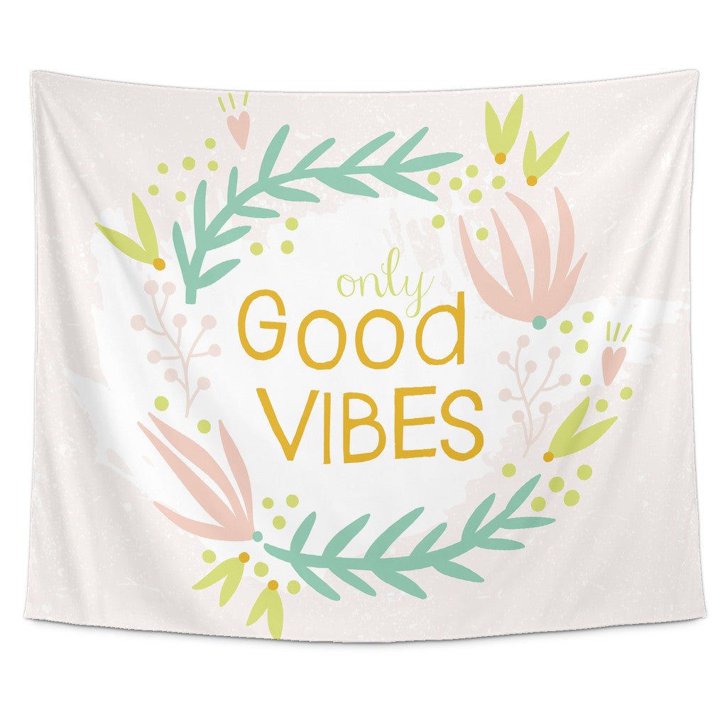 Tapestries - 'Only Good Vibes' Motivational Quotes Tapestry
