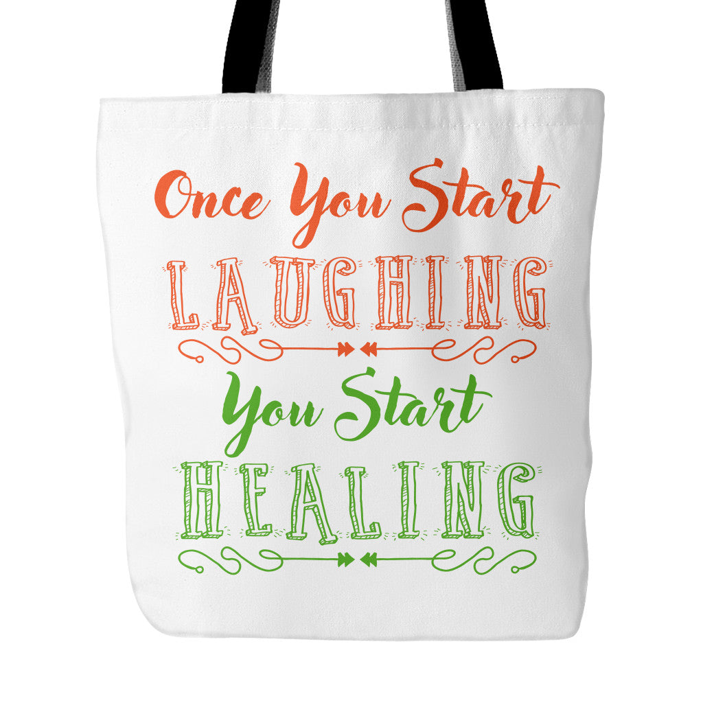 Tote Bags - Laughing Starts Healing Beautiful Smile Quotes Tote Bag