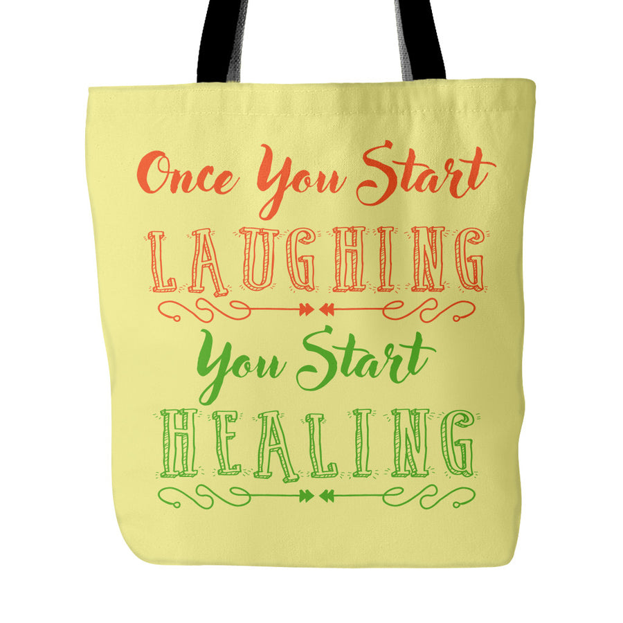 Laughing Starts Healing Beautiful Smile Quotes Tote Bag