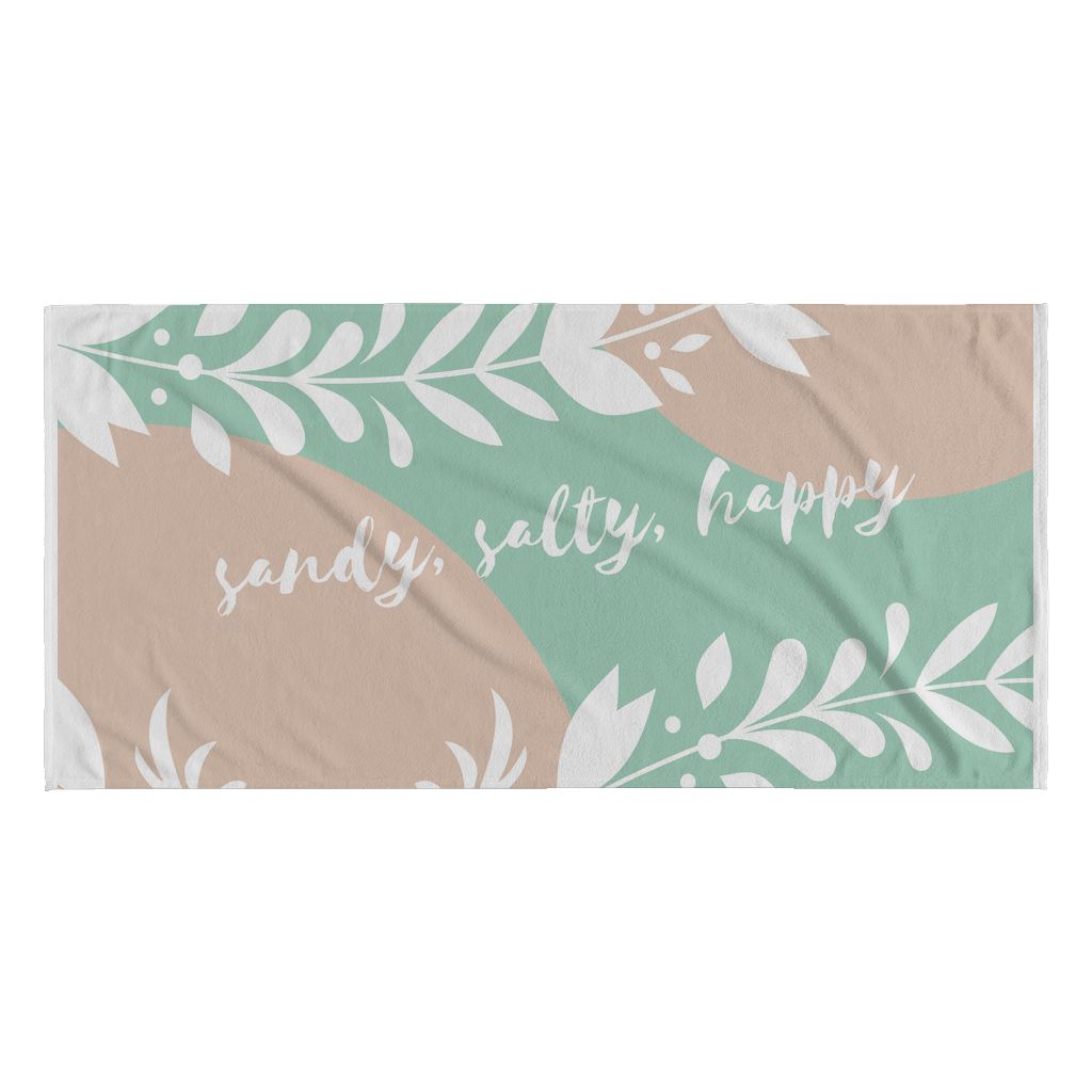 Sandy Salty Happy Summer Quotes Beach Towel Good Morning Quote