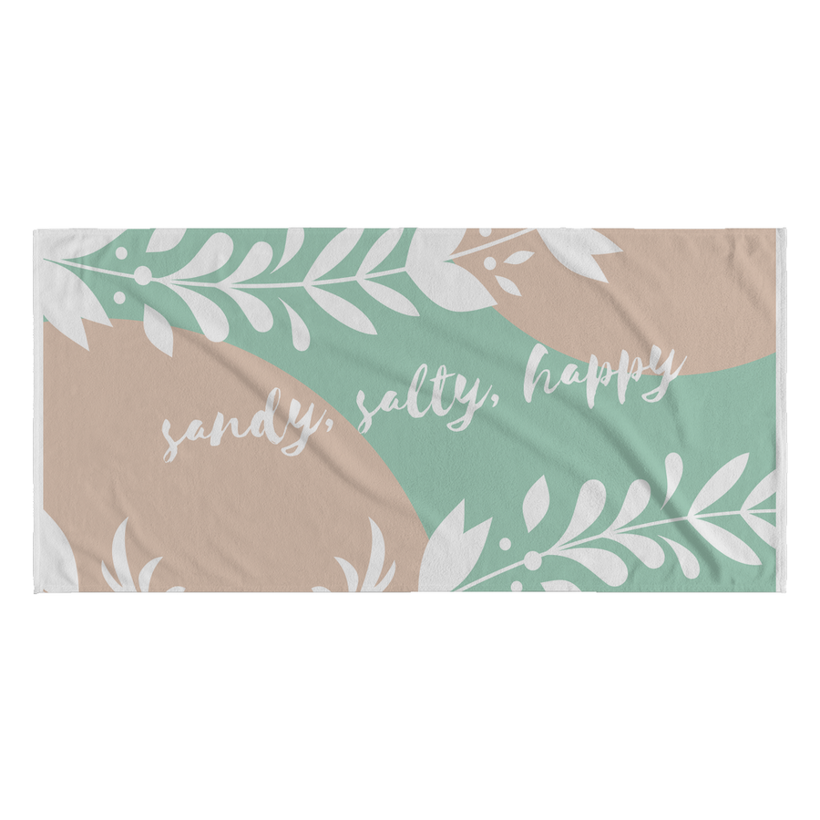 'Sandy, salty, happy' Summer Quotes Beach Towel