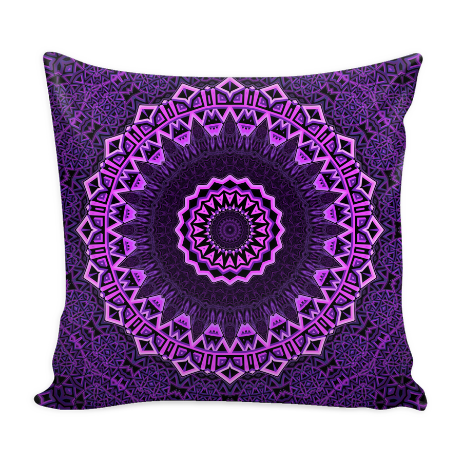 'Enlightenment' Violet Buddhist Mandala Pillow