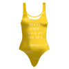 'Brave, free, wild as the sea' Summer Quotes Yellow One-piece Swimsuit