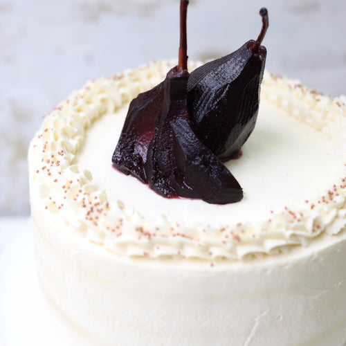 Gingerbread Cake with Red Wine Poached Pears