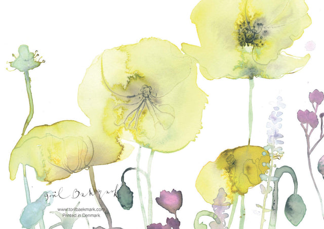 gift card, postkort, kort, watercolor, flower card