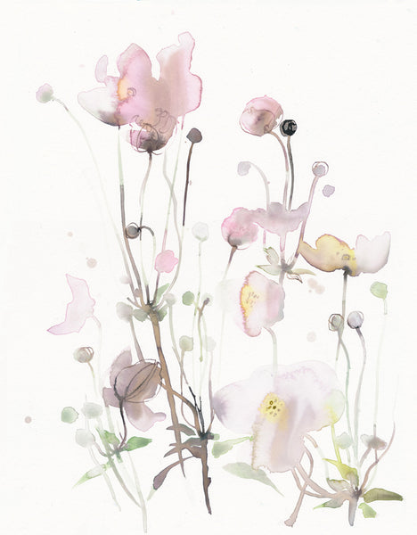 original watercolor, anemone japonica, feminin, watercolorart, decorative art, toril baekmark