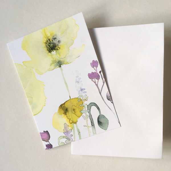 Flowerscards - Yellow spring card  - set of 4 cards